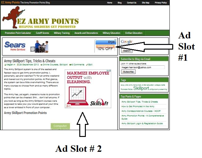 advertise on ez army points