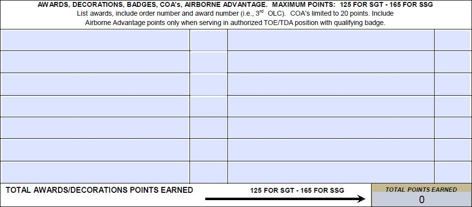 awards promotion point worksheet